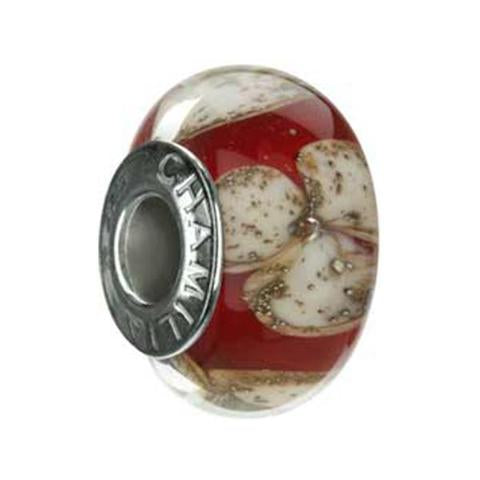 Ruby Blooms Murano Glass Bead