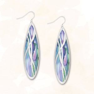 Illustrated Light Blue Stained Glass Earrings