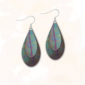 Illustrated Light Double Teardrop Earrings