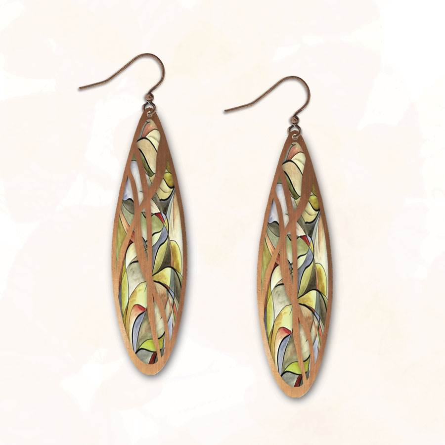 Illustrated Light Green Stained Glass Earrings