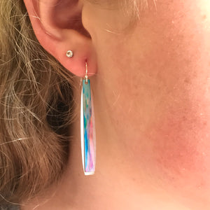Illustrated Light Long Bar Earrings