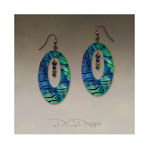 Illustrated Light Beaded Oval Earrings