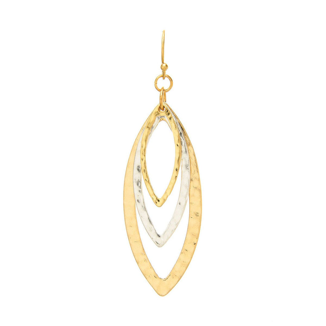 hammered silver and gold elongated oval earrings