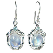 Glory Rainbow Moonstone Earrings with Blue Topaz Accent