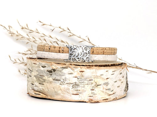 Etched Leaves Cork Bracelet