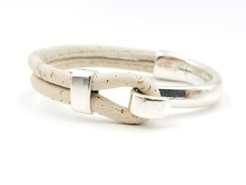White Cork Side Hook Bracelet