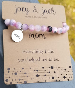 Pink Jade Beaded Mom Bracelet