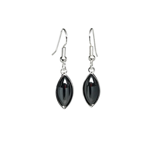 Black Single Leaf Earrings