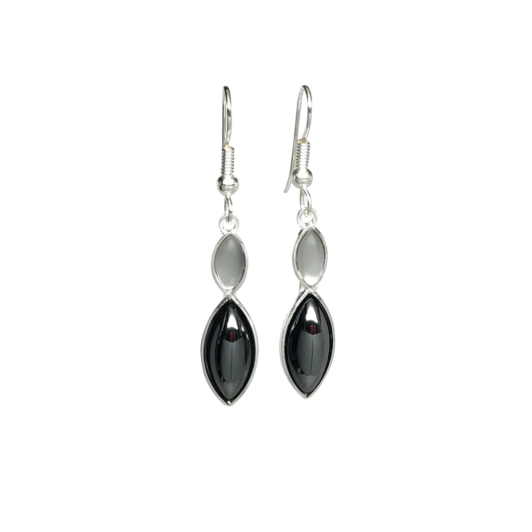 Black & White Double Leaf Earrings