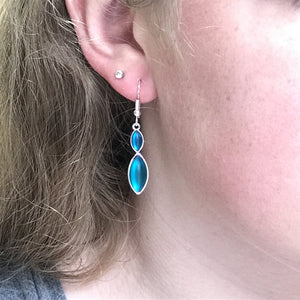 Blue Double Leaf Earrings