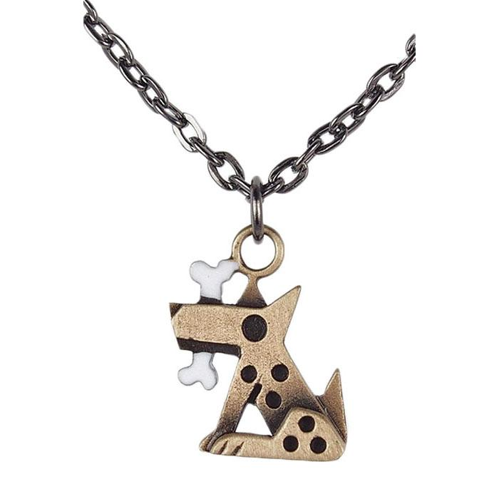 Small Bronze Fido Pendant Necklace