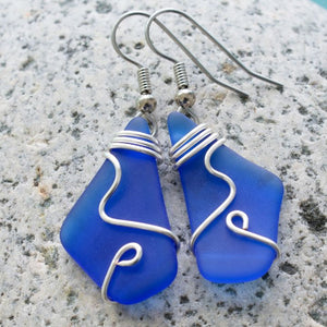 Cobalt Sea Glass Earrings