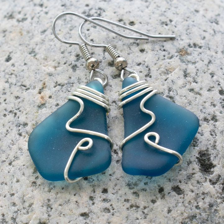 Spruce Sea Glass Earrings
