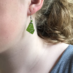 Deep Green Sea Glass Earrings