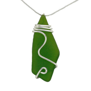 Deep Green Sea Glass Necklace