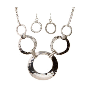 Hammered Circles Necklace Set