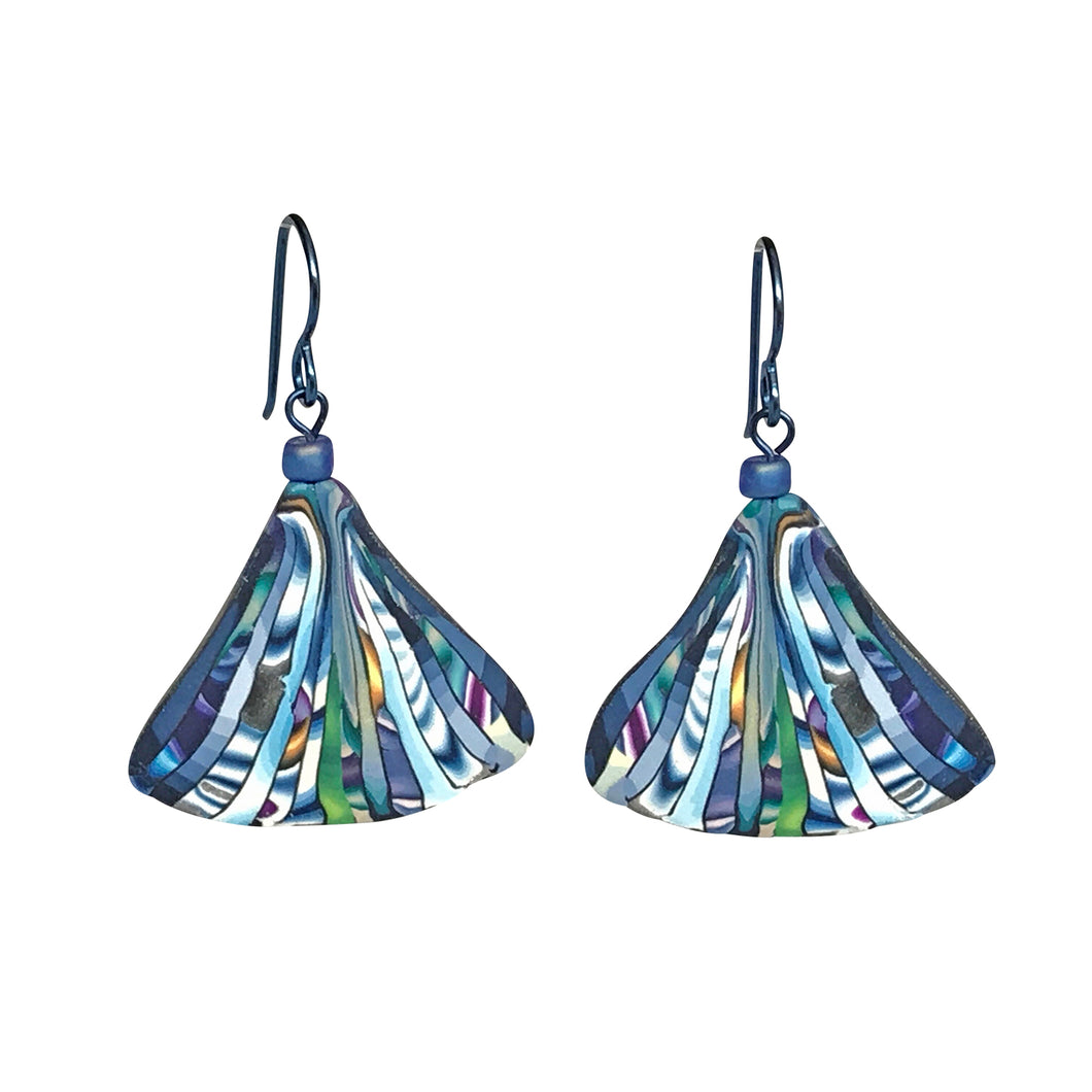 Blue Mosaic Fan Earrings