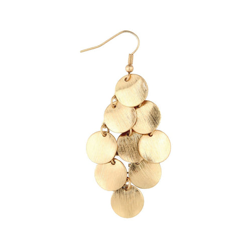 Gold Disc Chandelier Earrings