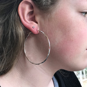 maxi sized silver hoop earrings