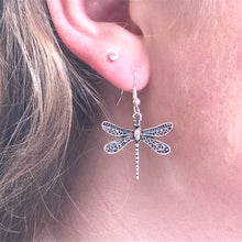 delicate filigree detailed dragonfly earrings