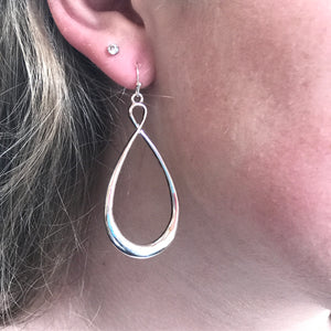 silver infinity twist earrings