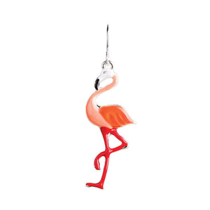 Pink enameled flamingos earrings