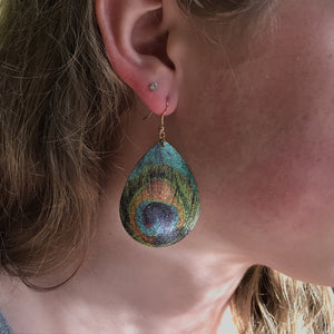painted peacock feather earrings