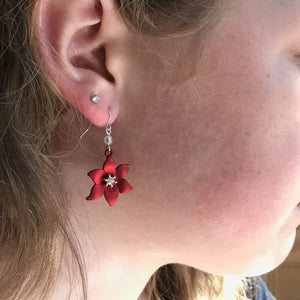 Red Poinsettia Earrings