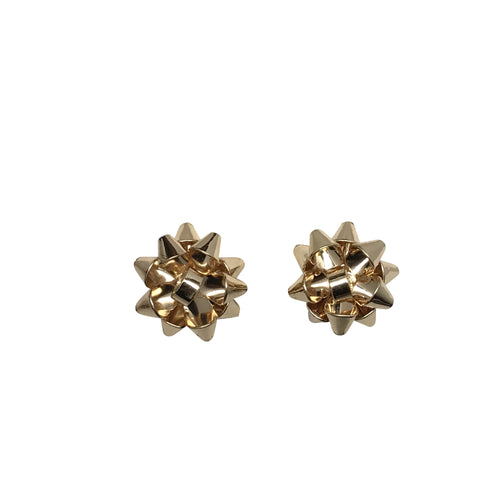 Gold Gift Bow Post Earrings