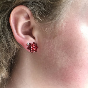 red bow christmas earrings