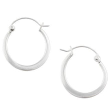 Sterling Silver Half Flat Hoop Earrings 18mm