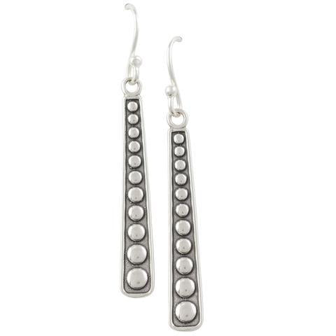 Oxidized Silver Bali Stick Earrings