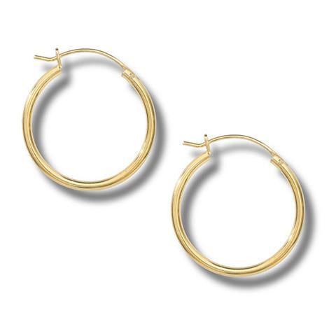 14K Gold Plate Hinged Hoop Earrings 25mm