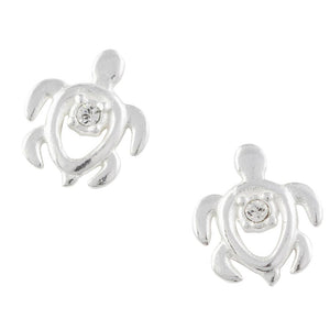 Crystal Turtle Post Earrings