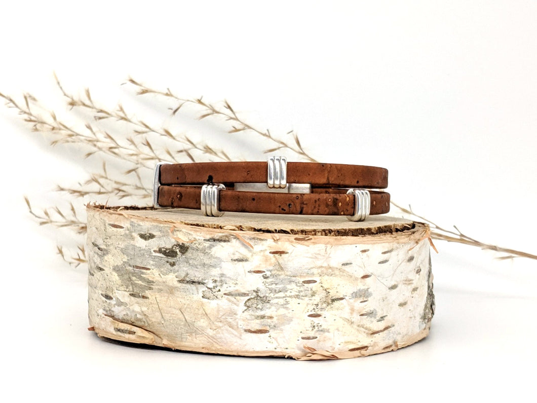 Striped Bands Cork Bracelet