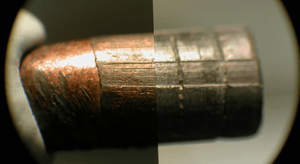 Microscopic comparison of two bullets for expert evidence for court
