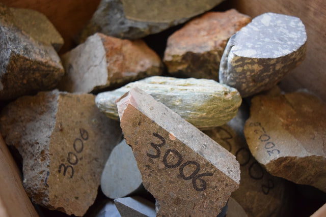 Geology samples of rocks with sample number identification
