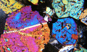 Petrographic view of a colourful mineral