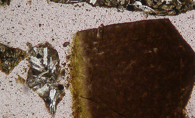 Yellow mineral shown petrographically