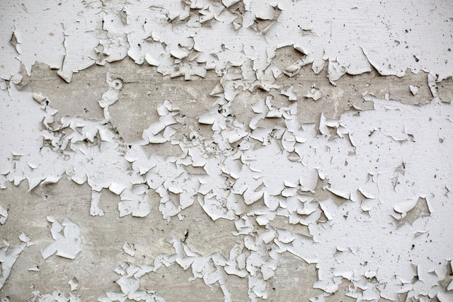 Flaking white lead-based paint on a wall
