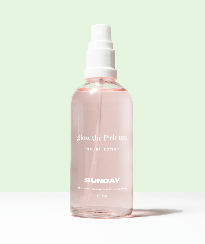 glow the f*ck up toner - plumping, hydrating, soothing hyaluronic acid, strawberry & rose toner MADEBYSUNDAY.COM