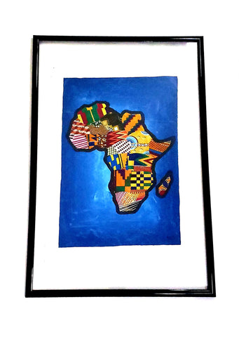 African Map in Ankara Fabric on Acrylic Painting(Wall Decor)