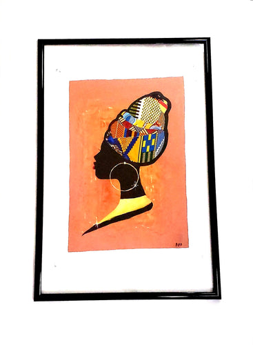 African Woman Fabric Figure on Acrylic Painting (Wall Decor)
