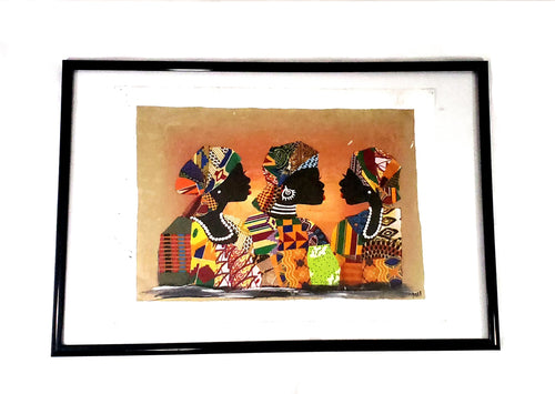 African Women Fabric Figures on Acrylic Painting (Wall Decor)