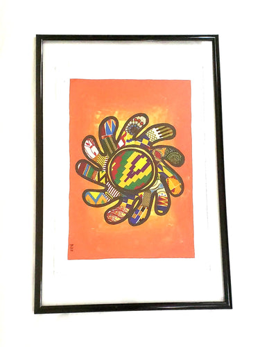 Adinkra Symbol in Fabric on Acrylic Painting (Wall Decor)