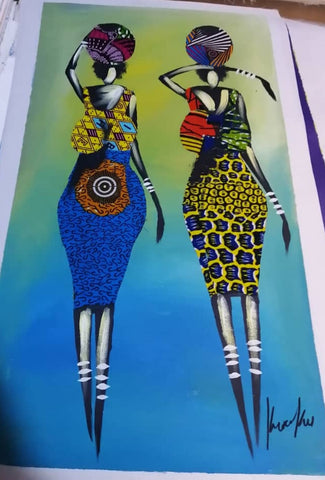 African Market Women Fabric Figures on Acrylic Painting (Wall Decor)