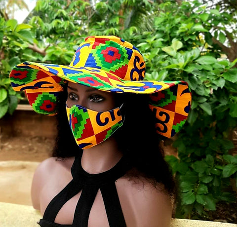 Set of Floppy Sun Hat with Face Mask