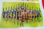 Kenya Maasai Warriors Fabric Figures on Acrylic Painting (Wall Decor)