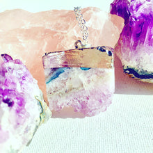 Load image into Gallery viewer, Silver Amethyst Slice Necklace