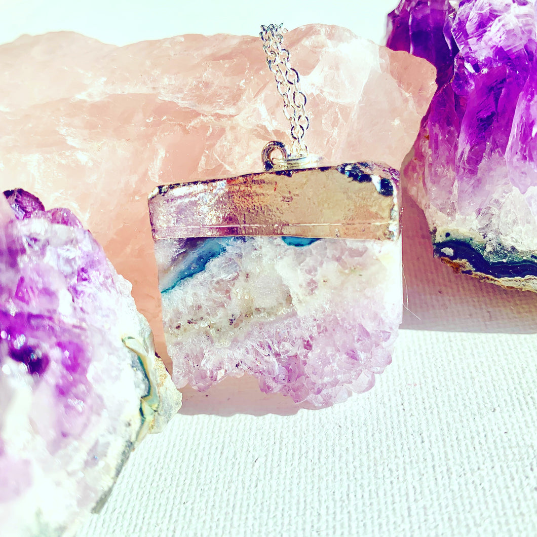 Silver Amethyst Slice Necklace